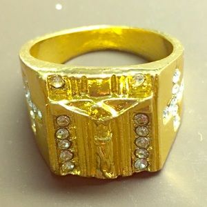 Gold plated Jesus Christ ring size 9